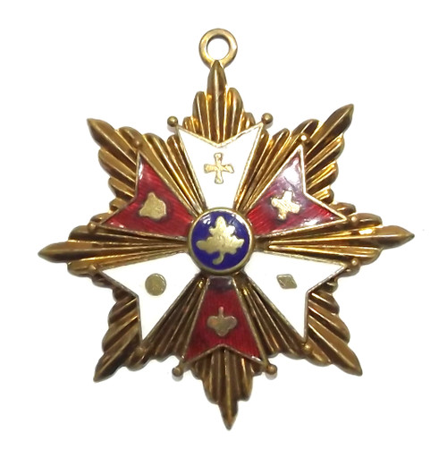 Vintage 8 Point Brass Star Necklace Pendant with Enameling & Symbols