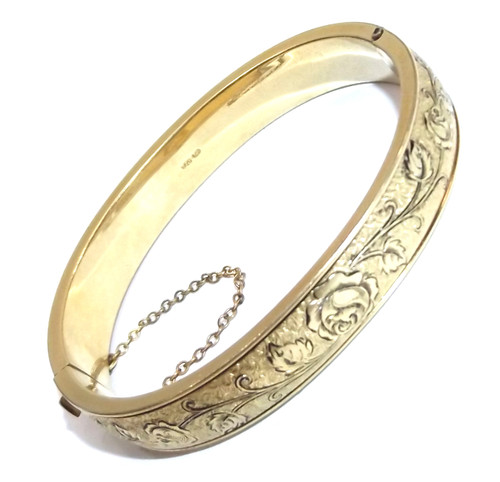 Exquisite Winard 1/20 12k Gold Filled Hinged Bracelet with Engraved Rose Flowers