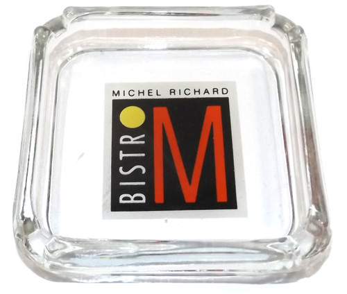 Vintage Michel Richard Bistro M Glass Restaurant Advertising Ashtray with ACL