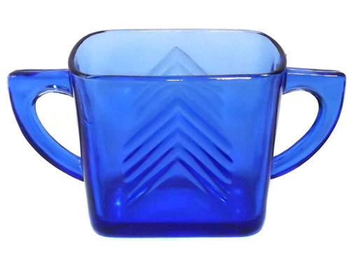 Vintage Hazel Atlas Cobalt Blue Chevron Pattern Glass Open Sugar Bowl