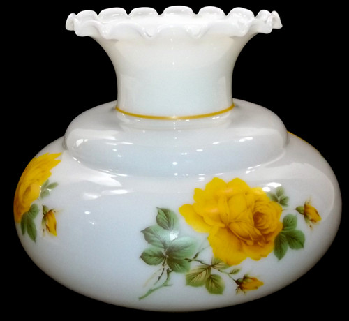 Retro Vintage Large Milk Glass Lamp Shade Replacement Globe w/ Yellow Rose