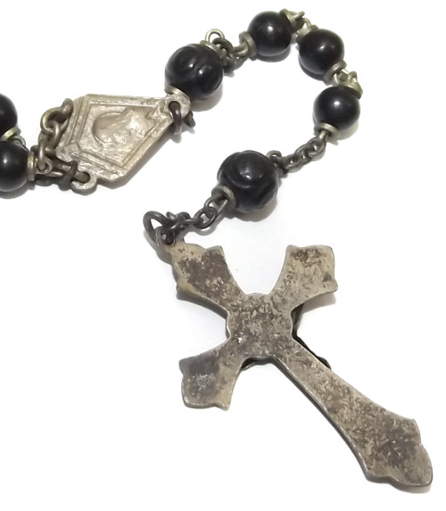 Vintage Catholic Rosary Chain Silver Plated Crucifix Prayer Beads