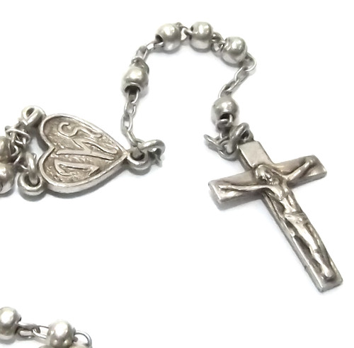 Antique Sterling Silver B.B.Co. Catholic Rosary Chain Silver Crucifix Prayer Beads