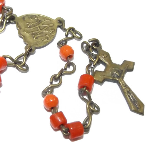 Vintage Brass Catholic Rosary Chain Crucifix with Red Plastic Prayer Beads