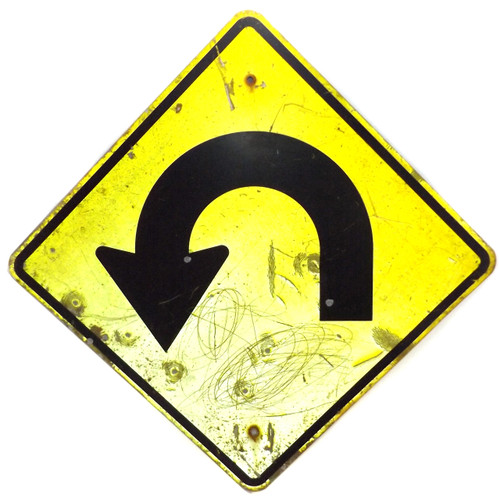 Vintage Retired Large Hairpin Turn Ahead Highway Traffic Road Sign Caution