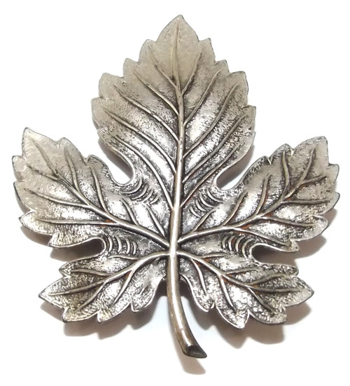 Vintage Stamped Steel Silver Plated Maple Leaf Shaped Brooch Pin