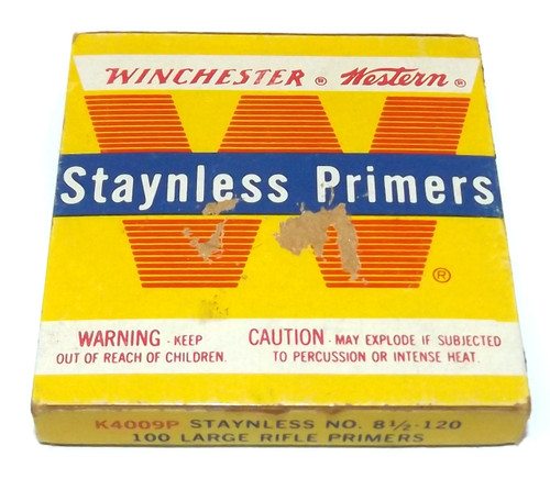 Vintage Winchester Western Staynless Primers No. 8 1/2-120 Original Box