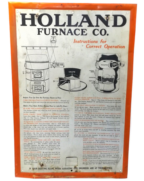 Vintage Holland Furnace Co. Coal Stove Advertising Instruction Tin Sign