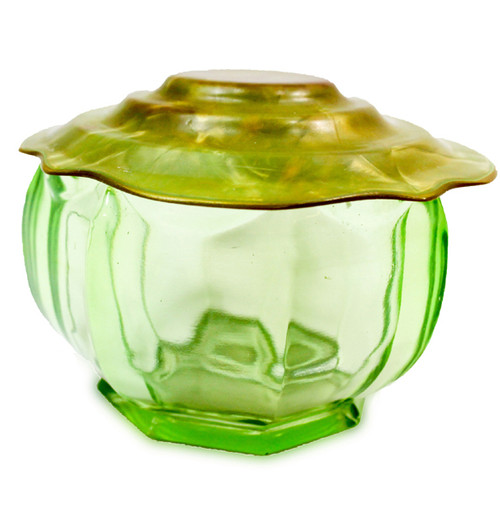 Vintage Paneled Green Depression Glass Powder Jar w/ Celluloid Type Plastic Lid