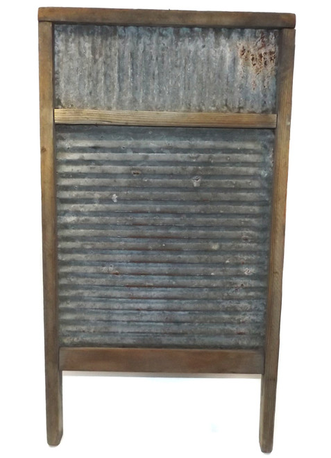 Primitive Antique Double Wash Board Ribbed Galvanized Washboard