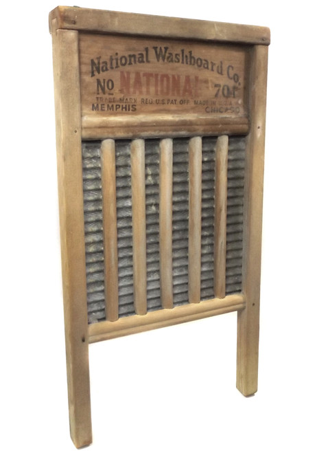 Antique National Washboard 701 Zinc King Primitive Weathered Laundry Wash Board