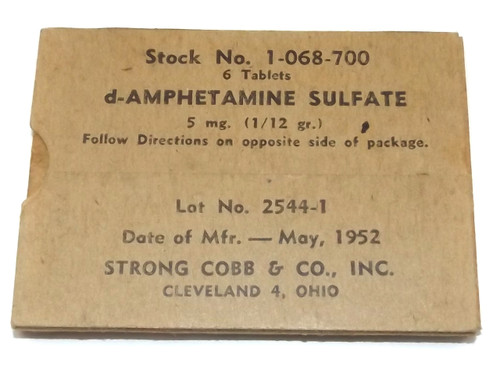 Vintage NOS 1952 Strong Cobb d-Amphetamine Sulfate Tablets Pills in Original Box