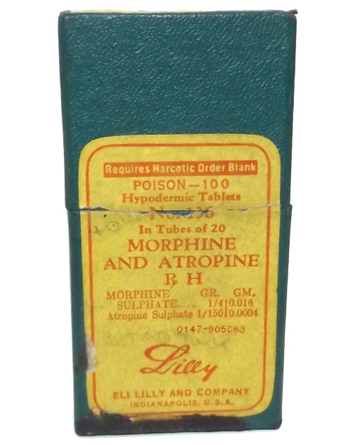 Vintage Eli Lilly Morphine Atropine Original Medicine Box with Pill Vial Lot