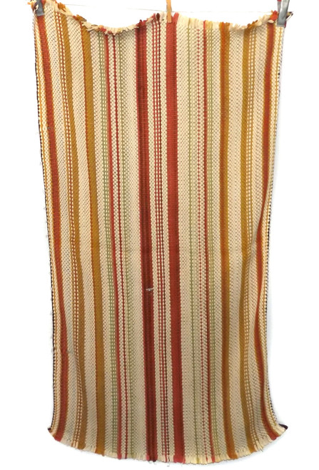 Vintage Homemade Autumn Fall Colored Striped Rag Rug 22 X 42""