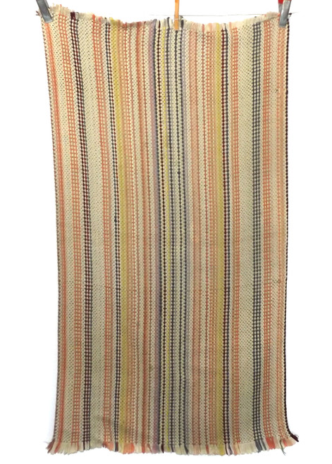 Vintage Orange Fall Colors Homemade Striped Rag Rug 22 X 42""