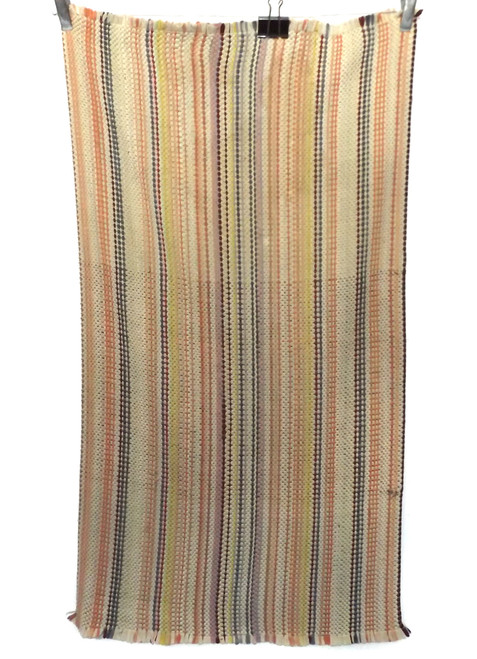 Vintage Orange Autumn Colors Homemade Striped Rag Rug 22 X 43""