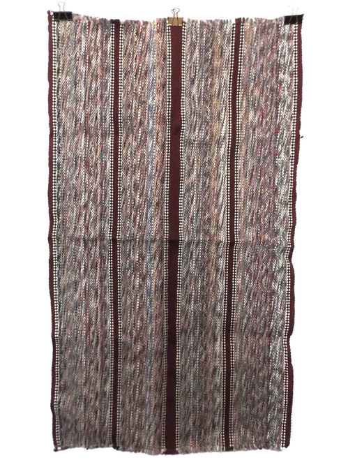 Vintage Retro Brown Striped Multi-Colored Estate Rag Rug 23 X 40""