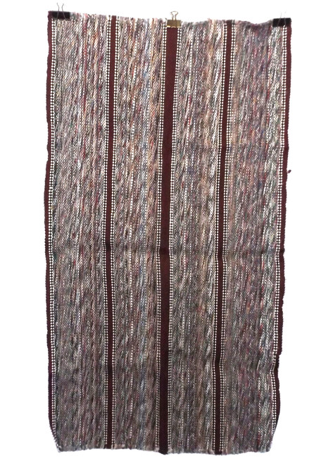 Vintage Retro Earth Tones Striped Multi-Colored Estate Rag Rug 23 X 42""
