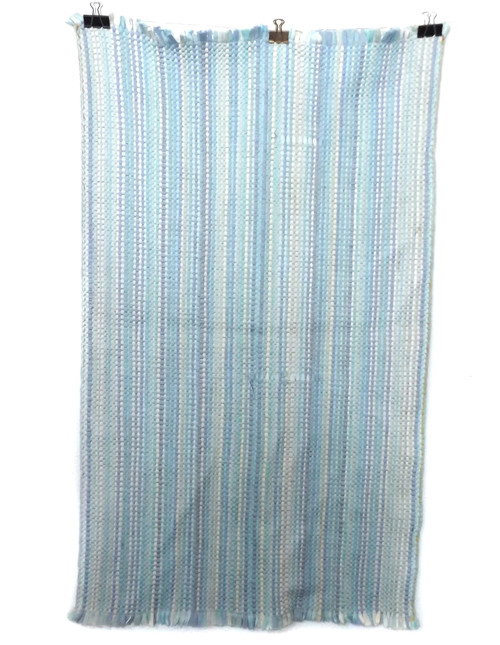 Vintage Retro Handmade Pastel Blue Striped Estate Rag Rug 23 X 40""