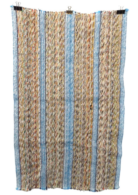 Vintage Retro Earth Tone with Blue Stripes Estate Rag Rug 22 X 36""
