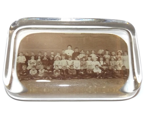 Antique Glass Photograph Paperweight with Photo of School Children
