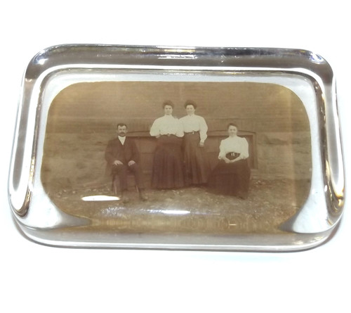 Antique Glass Photograph Paperweight Group Photo Mauch Chunk Jim Thorpe, PA