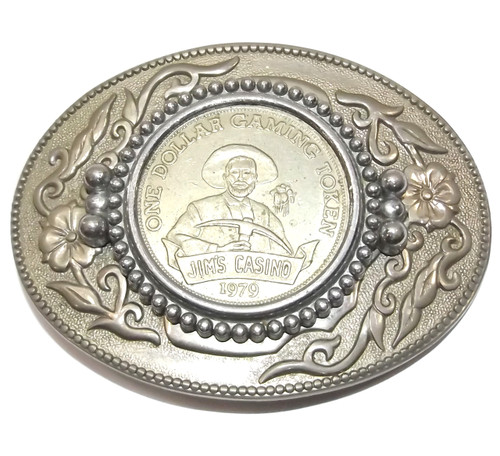 Vintage 1979 Jim's Casino Dollar Gaming Token Silver Tone Belt Buckle