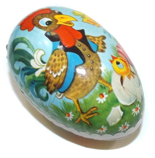 Vintage Two Piece Paper Mache Easter Egg Gift Box Cartoon Chickens East Germany