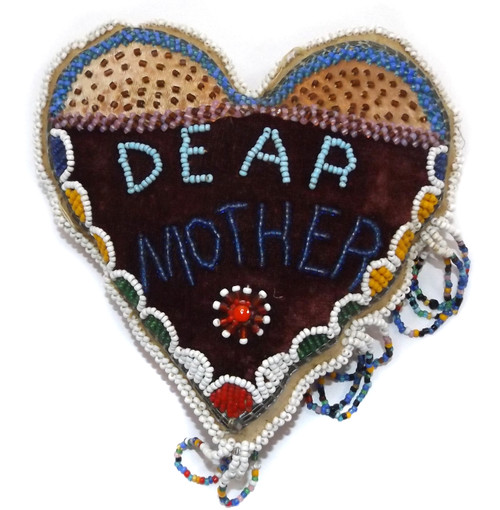 Antique Native American Indian Dear Mother Beaded Heart Pincushion Whimsie