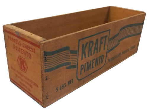 Vintage Kraft Pimento 5# Wooden Cheese Advertising Box w/ Bright Stenciling