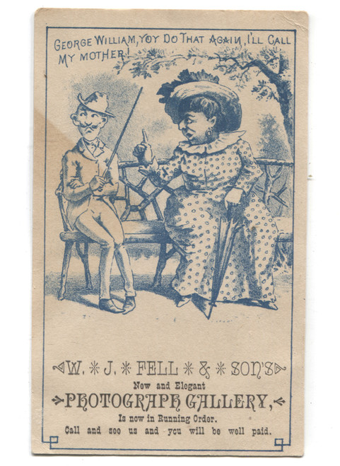 Antique W.J. Fell & Sons Photograph Gallery Comical Victorian Trade Card