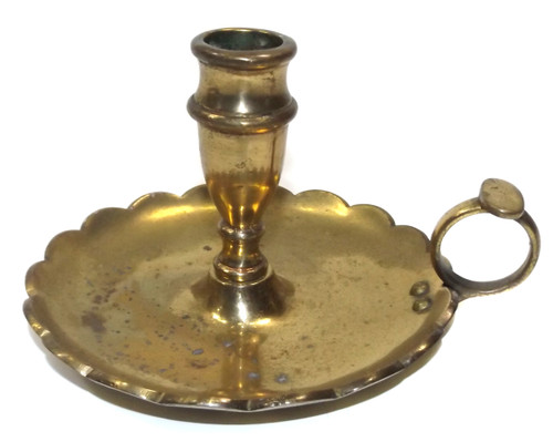 Vintage Solid Brass Candle Holder Nappy Candlestick England w/ Finger Handle