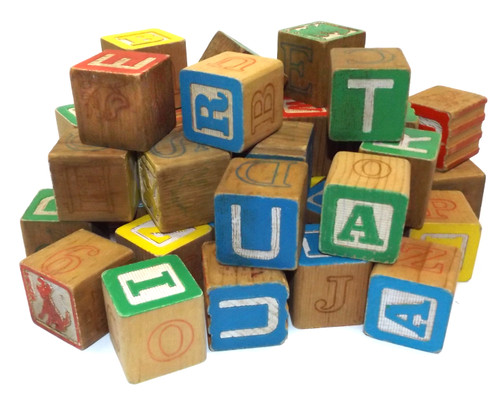Lot of 41 Vintage Wooden Alphabet Building Blocks ABC Blocks Assorted Mixed Lot