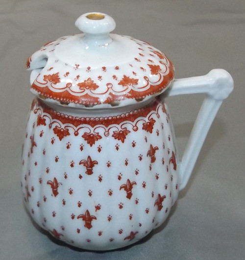 Antique Porcelain Jelly Jar Spooner with Lid Condiment Jar Fleur de Lis Pattern