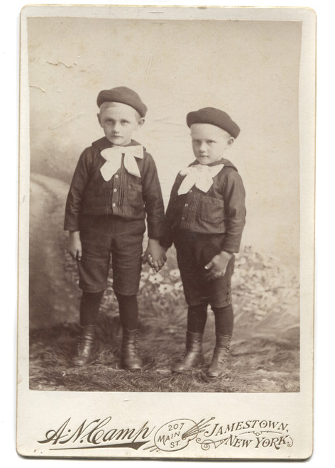 Antique Cabinet Card Photograph of Two Young Boys Holding Hand in Sailor Outfits