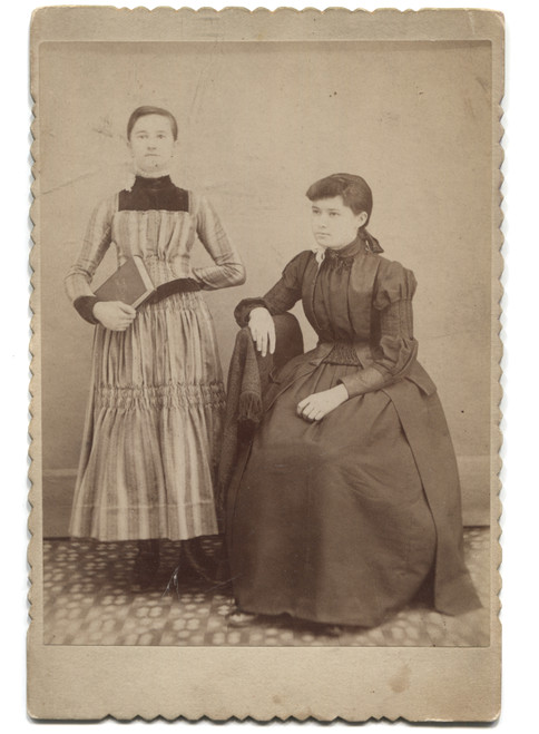Antique Cabinet Card Photograph 2 Named Teen Girls One Standing Holding a Book