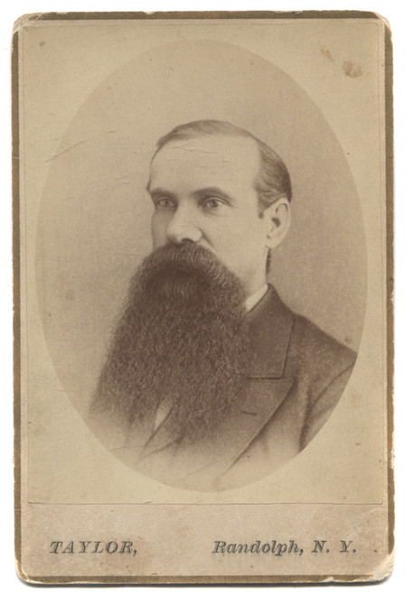Antique Cabinet Card Photograph of Portrait of Named Bearded Man Randolph, NY