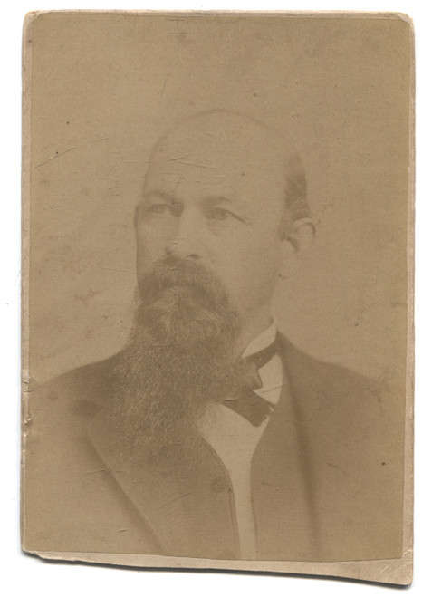 Antique Cabinet Card Photograph of Named Balding Man with Goatee - Salamanca, NY