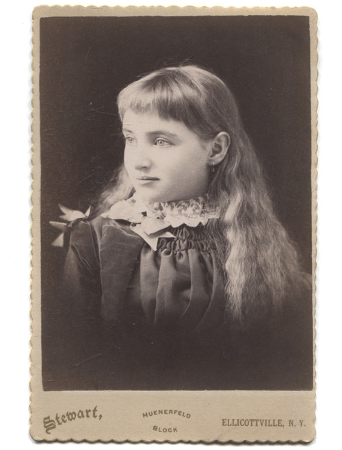 Antique Cabinet Card Photograph Named Young Long Haired Girl Ellicottville, NY