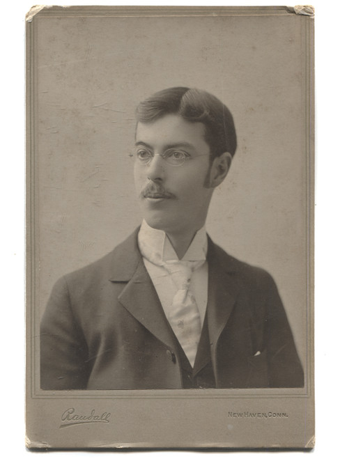 Antique Cabinet Card Photograph Named Man w/ Mustache & Glasses - New Haven, CN