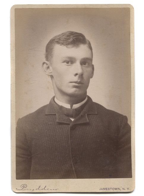Antique Cabinet Card Photograph Named Young Man Writing on Back Jamestown, NY
