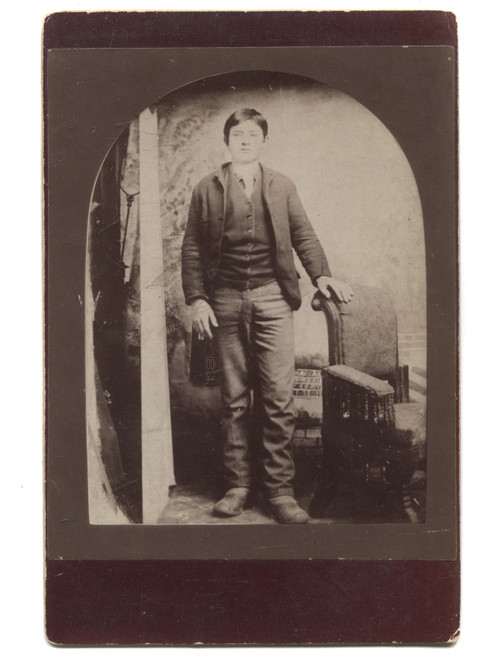 Antique Cabinet Card Photo Named Will Clark Young Boy Standing in Modest Clothes