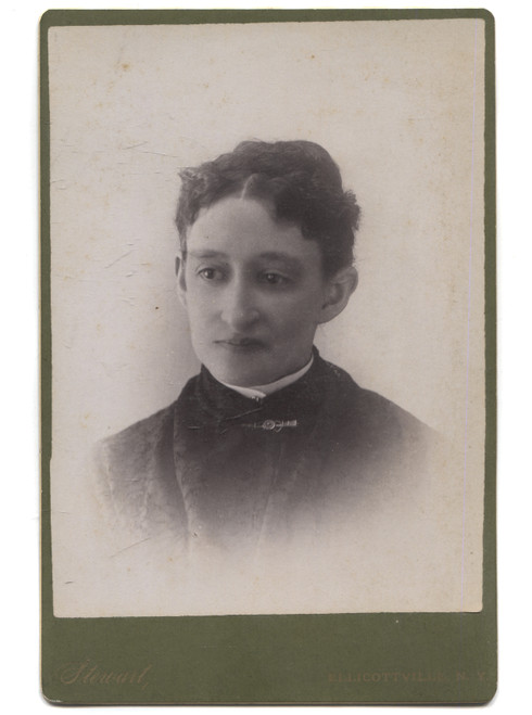 Antique Named Cabinet Card Photograph of Abigail Meloy - Ellicottville, NY