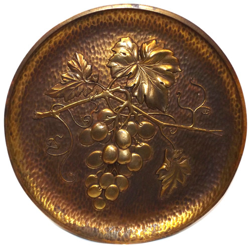 Retro Vintage Syroco Wood Antiqued Gilded Grape Cluster Decorative Wall Plaque