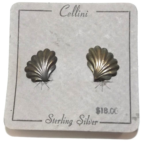 Pair Vintage Silver Cellini Clam Oyster Shell Clip On Earrings