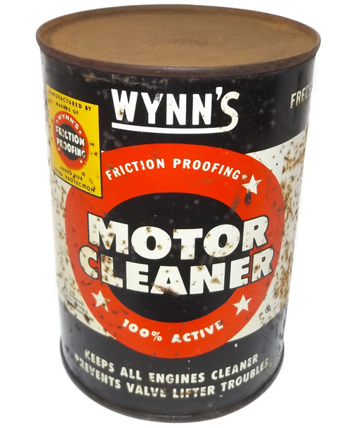 Vintage NOS Full Quart Can Wynn's Friction Proofing Motor Cleaner Tin