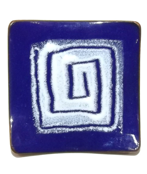 Vintage Cobalt Blue Copper Enamel Abstract Square Spiral Mid-Century Brooch Pin