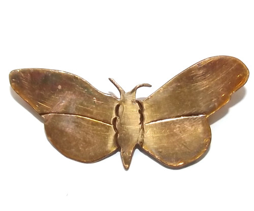 Naive Vintage Handmade Copper Butterfly Moth Shaped Brooch Pin