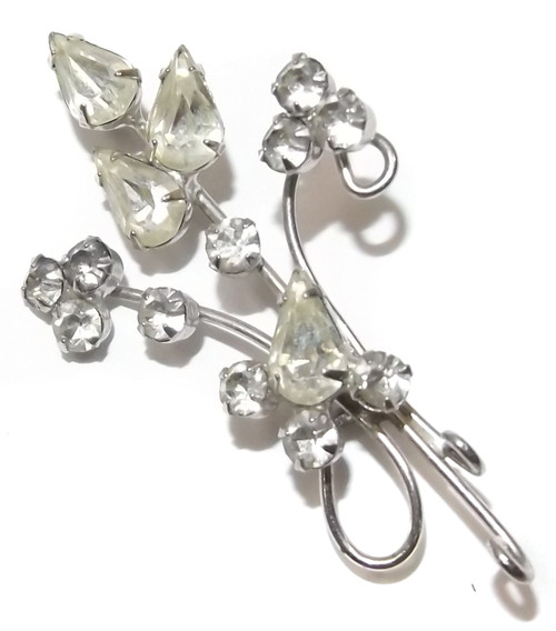 Vintage Silver Tone Stylized Flower Brooch Pin with Clear Prong Set Rhinestones