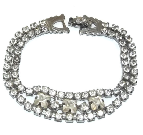 Vintage Signed Weiss Silver Tone Tennis Bracelet with Square Rhinestones